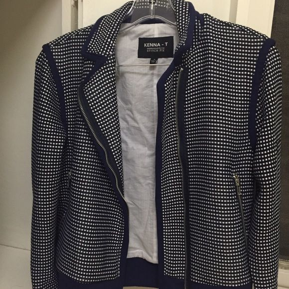 Stitch Fix- Kenna-T Motto jacket Stitch Fix- Kenna-T Motto jacket worn once. It's blue and white. Super chic! I'm selling it because I have too many jackets. Stitch Fix Jackets & Coats Utility Jackets