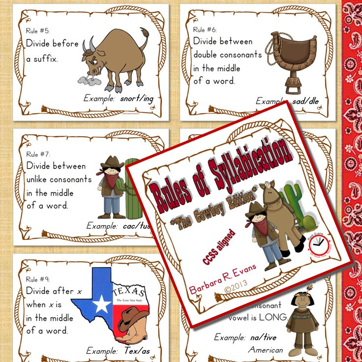 Rules of syllabication, cowboy style.  Posters for your bulletin board.