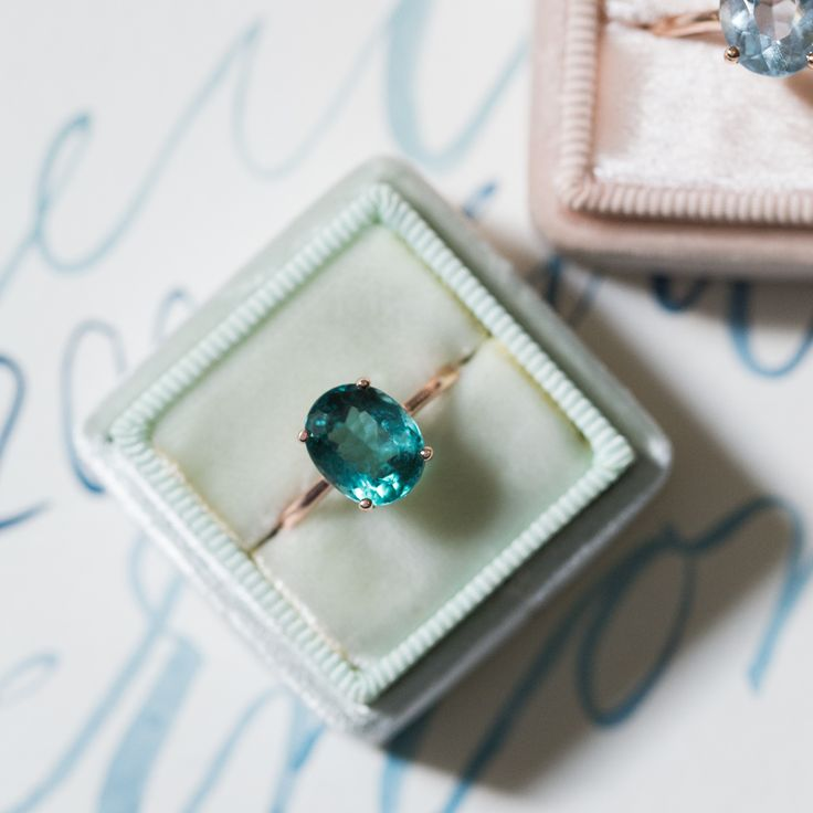 Simple teal tourmaline solitaire ring from T&H <3