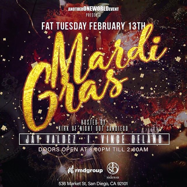 #FatTuesday tonight and @sidebarsd got u covered💯 Say my name at the door or just hit me (619)651-6976 for #BottleSpecials to get you in the spirit of #MardiGras‼️#SidebarSD #MardiGrasSD #Sidebar #DowntownSD #Gaslamp #WhereTheBeads #sandiegoconnection #sdlocals #downtownsdlocals - posted by Raul Ruiz (Queenie) https://www.instagram.com/raul_queenie. See more post on Downtown San Diego at http://downtownsdlocals.com