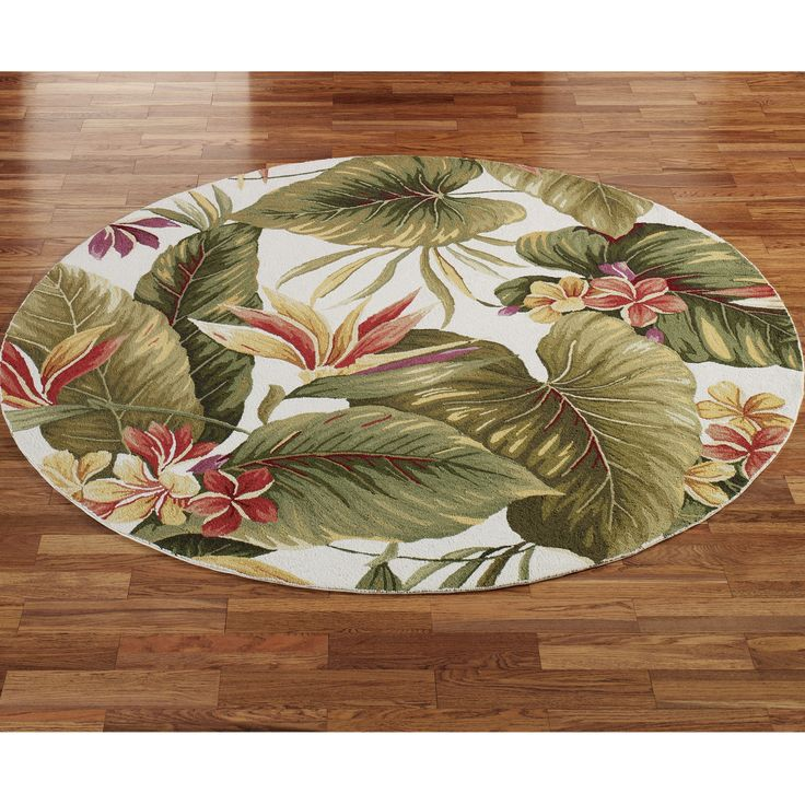 "Tropical+Floral+Rugs | Home Paradise Haven Round Rug Ivory 7'6"" Round"
