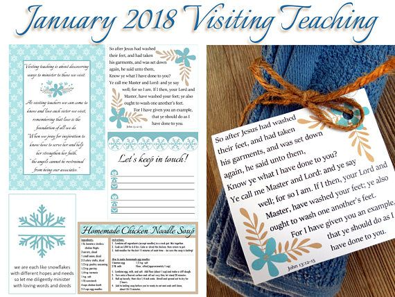 $2.00, January 2018 Visiting Teaching Printables LDS Relief Society