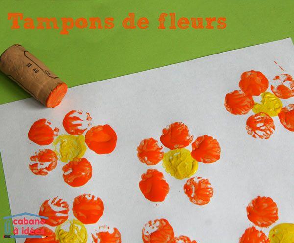 Ce n'est pas vraiment une activité automnale, plutôt une activité printanière, mais si vous souhaitez rester dans le thème de l'automne, proposez à vos enfants de tamponner des grappes de raisins, à la place de fleurs, ou alors des feuilles d'arbres (en remplaçant les doigts par des bouchons), des pommes.... ;) Il vous suffira d'un peu de peinture liquide et de bouchons en liège. Bien sûr, on peut utiliser les bouchons de liège pour tamponner plein d'autres choses comme des coccinelles ...
