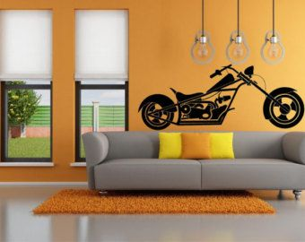 Chopper Wall Decal Vinyl Wall Decal By WallumsWallDecals On Etsy. Harley Davidson DecalsHarley . & Harley Davidson Wall Murals - [thronefield.com]