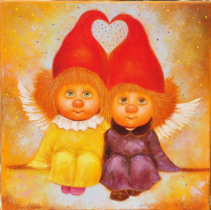 Купить Ангелы твоего сердца. Картина маслом. - ангелы твоего сердца, ангелочки…