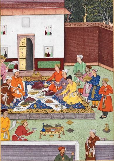 A banquet including a roasted goose given to Babur by a Timurid mirza