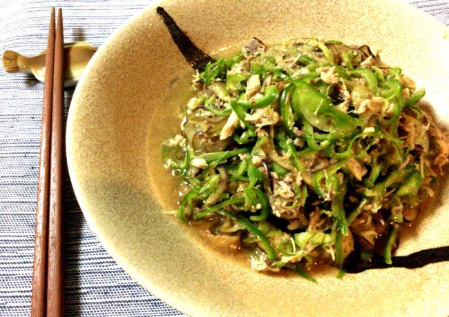Sliced Green pepper & Eggplants in Canned Mackerel sauce  無限に感謝を。絶品無限常備菜でナスピーマン大量消費。(糖質5.8g)