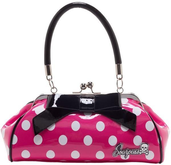 Kabelka Sourpuss - Pink/white polka dots