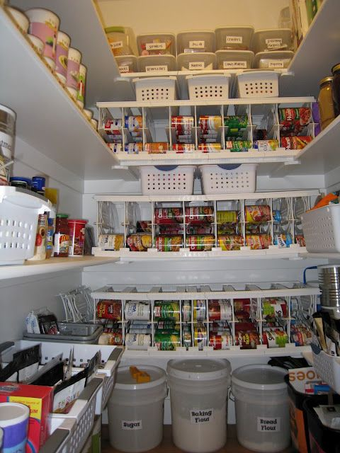 Pantry Organization/Food Storage. Part of me thinks this is a little much but then again, everything's cheaper in bulk and can you imagine shopping just once a month and only for produce?