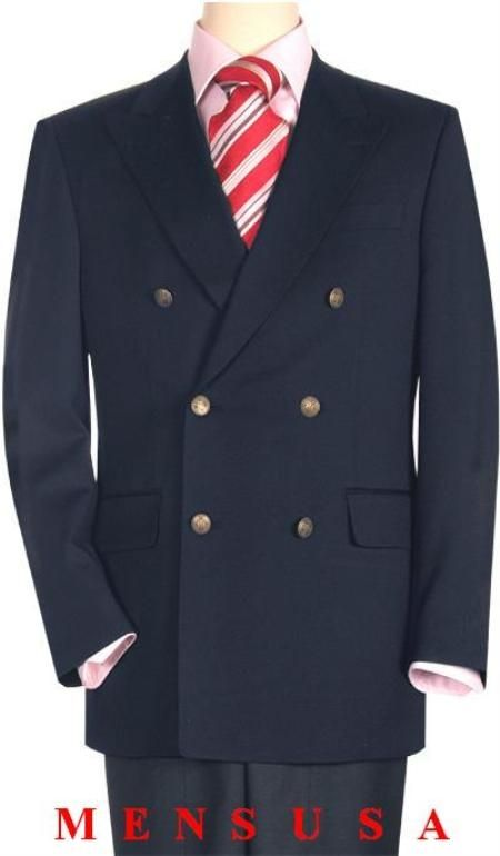 High Quality Navy Blue double breasted blazer with peak lapels, buttonhole: Six button double breasted blazer with peak lapels, buttonhole left lapel, set-in lower pockets with flaps, welt chest pocket, plain back without vents, bluffed edge and pocket, metal buttons and fully lined...