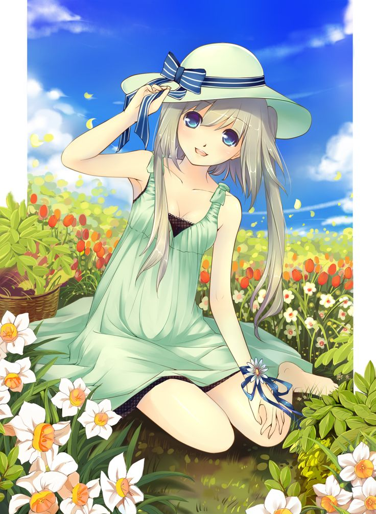 Anime girl surrounded by flowers! ) Anime is awesome