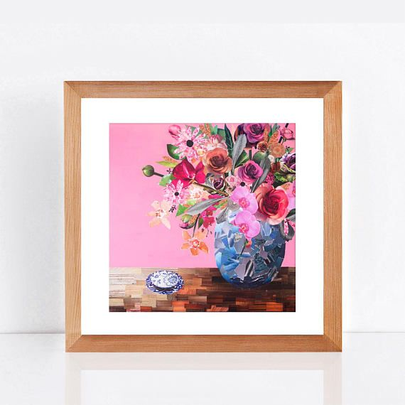 pink floral artwork  limited edition print flowers for alice