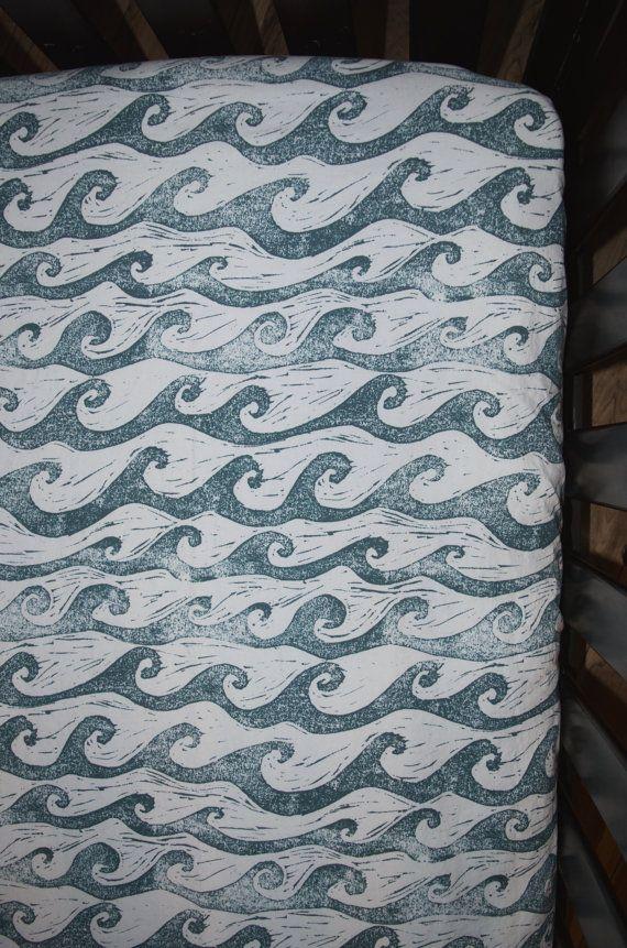 Waves Crib Sheet  - White and Blue/Green! Toddler Sheet, Nursery Sheets, Baby Sheets, Nautical Baby Bedding