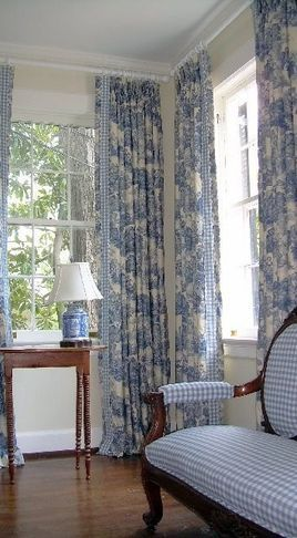 Love that gingham settee with the toile curtains....