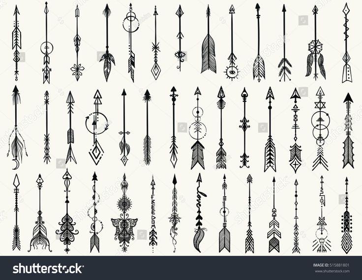 Big set of hand drawn tribal arrows for design ele…