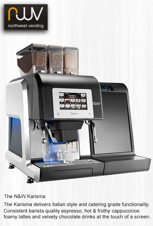 N&W Karisma barista quality drinks at the touch of a button. #barista, #Karisma, #espresso, #coffee machine