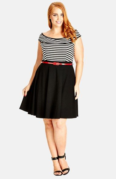 City Chic Off Shoulder Stripe Fit & Flare Dress (Plus Size) available at #Nordstrom