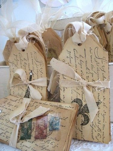 tags: Paper Gifts, Victorian Chic, Pretty Tags, Vintage Tags, French Vintage, Chic Cottages, Cards, Whimsical Victorian, French Scripts