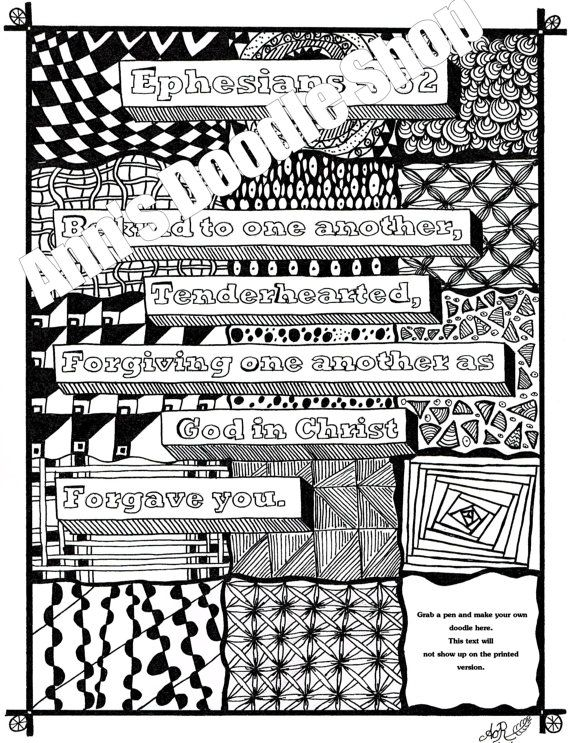 Bible Verse Memory Zentangle Ephesians 4 32 Coloring Page Instant Download Watercolors