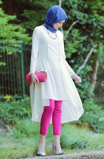 Hijab United Şifon Detaylı Tunik-Ekru 1012-52