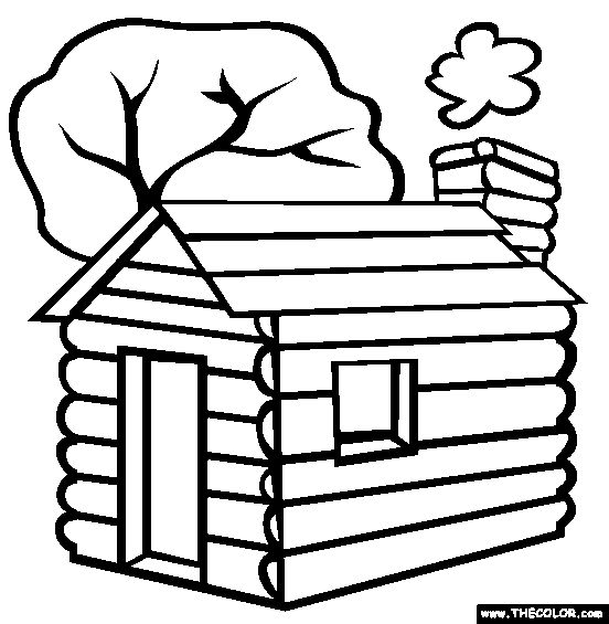 COLORING PAGES LOG CABIN for Van Allsburg week 18 CC