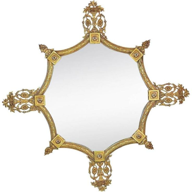 French Style Brass Hanging Wall Mirror | From a unique collection of antique and modern wall mirrors at https://www.1stdibs.com/furniture/mirrors/wall-mirrors/