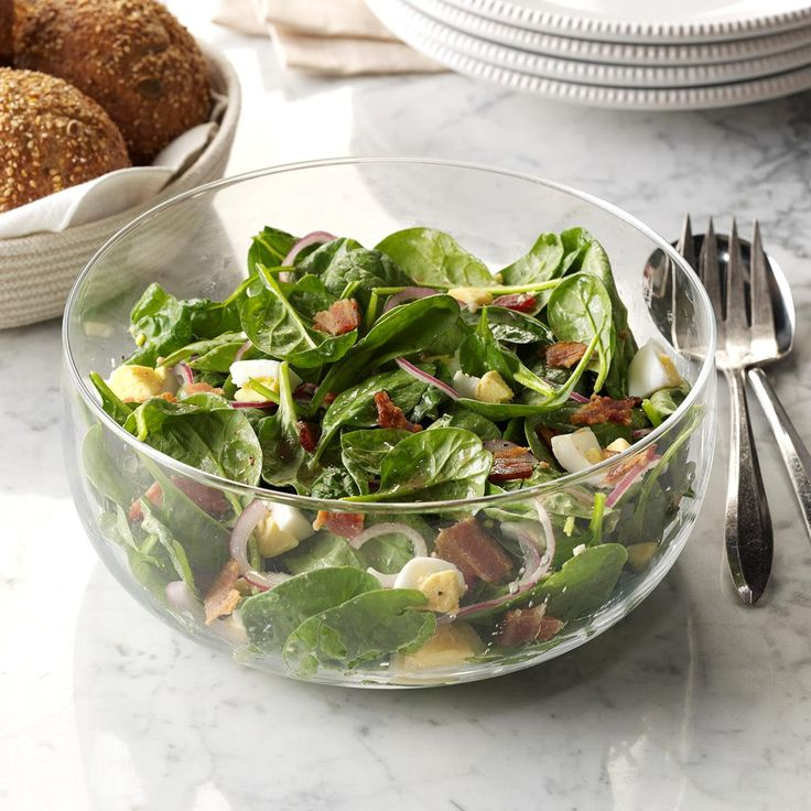 Spinach Salad with Warm Bacon Dressing Recipe -My spinach salad with a ...