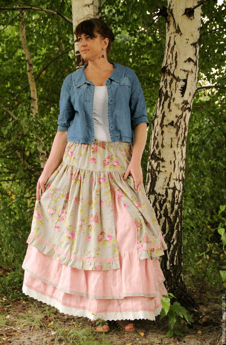 """Купить Юбка двойная из льна """"Розарий"""" - розовый, цветочный, юбка, длинная юбка…"""