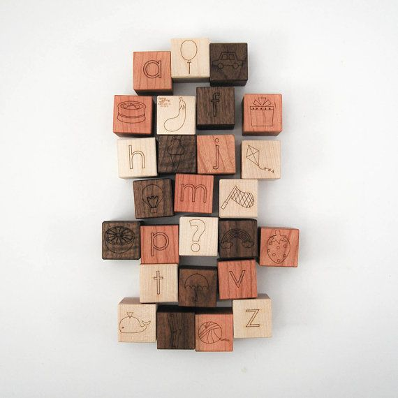 wooden blocks alphabet pictures 26 modern by littlesaplingtoys, $58.00