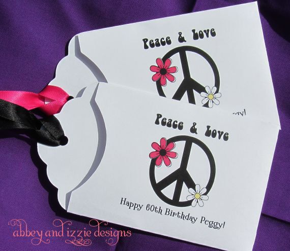 Peace Sign Party Favors, Peace, Hippie Party, 60's Party, Adult Birthday,   Lottery Ticket Holders,  by abbey and izzie designs
