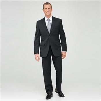 Charcoal Flat Front Athletic Fit Shadow Striped Wool Suit