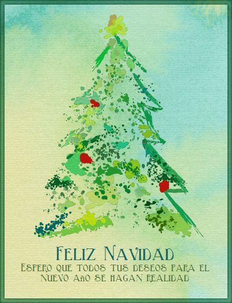 Tarjeta de navidad árbol pino de acuarela