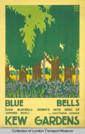 Bluebells; Kew Gardens, by Edward McKnight Kauffer, 1920 Published by Underground Electric Railways Company Ltd, 1920 Printed by Dangerfield Printing Company Ltd.