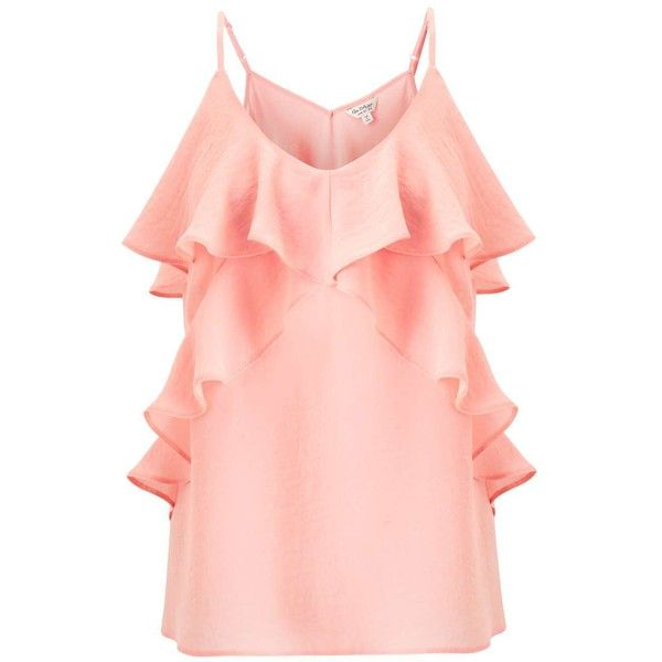 Miss Selfridge Coral Ruffle Front Camisole Top ($49) ❤ liked on Polyvore featuring tops, coral, frilly tops, pink camisole, ruffle cami top, miss selfridge and pink top