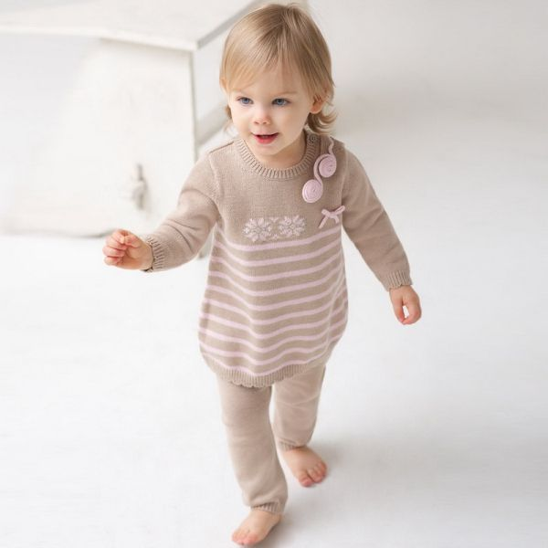 Sweet soft cotton and wool two piece set for baby girls from Pumpkinbabyuk!