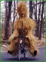 Whittlesey Straw Bear on a bicycle. Don't ask.