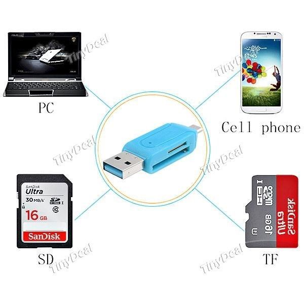 Universal Micro-USB OTG TF/SD Flash Memory Card Reader Charging for Smartphone
