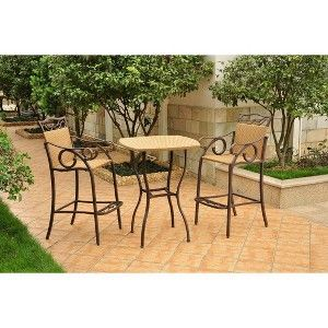 Valencia 3-Piece Wicker/Iron Bar Height Patio Bistro Furniture Set - Honey…