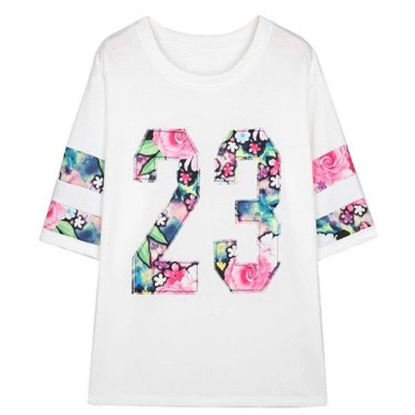 Choies White Floral Stripe And No. 23 Print Short Sleeve T-shirt featuring polyvore, fashion, clothing, tops, t-shirts, white, floral t shirt, floral print top, white t shirt, print tees and floral top