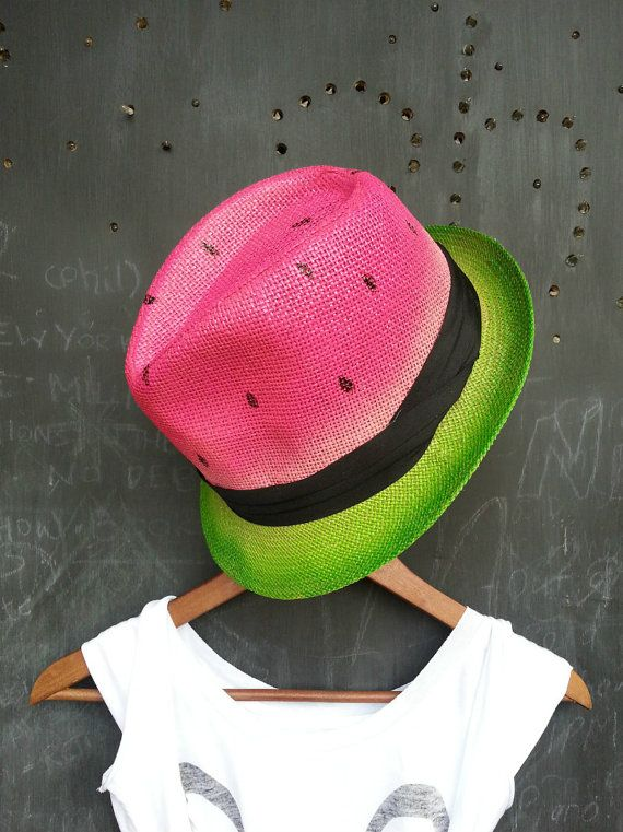 Watermelon  Unisex statement painted braid by FeatherheadOnEtsy, $55.00