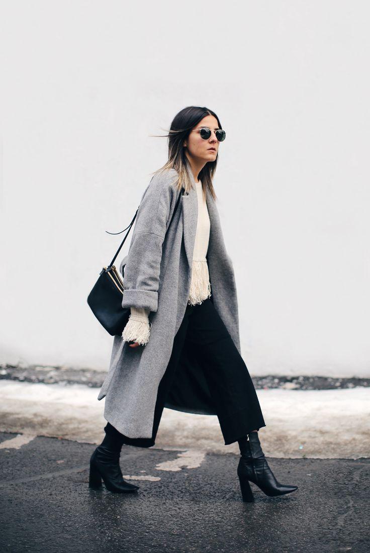 grey jacket + black culotte pants + white/neutral top
