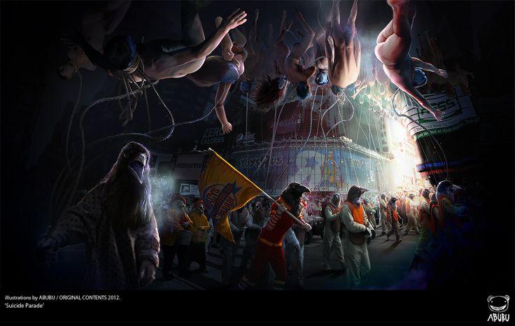 """""""Suicide Parade"""" 자살행진 illustration by ABUBU/ ORIGINAL CONTENT2012.  '자살한 사람은 지상에 목이 매어 하늘나라로 갈 수 없다'"""