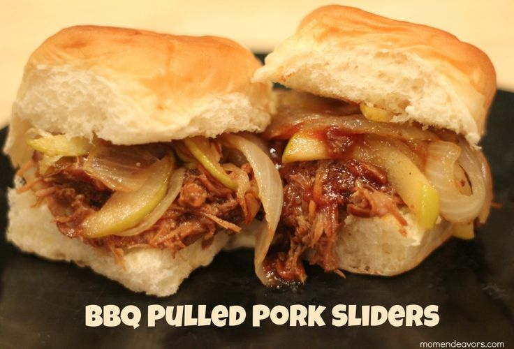 Slow cooker Coca-Cola BBQ Pulled Pork Sliders with sauteed onions & apples via momendeavors.com. So good!!