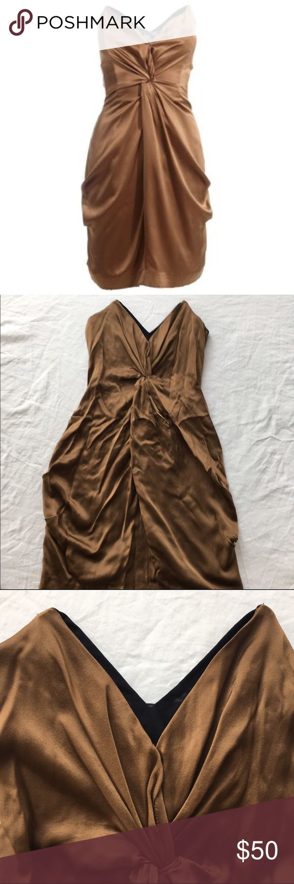 Reiss strapless bronze Courtney silk dress 2 xs Gorgeous silk dress from Reiss US 2/UK 6/XS. Perfect condition - photos are a little wrinkled looking from storage but nothing a good steam won't correct :) Reiss Dresses Strapless