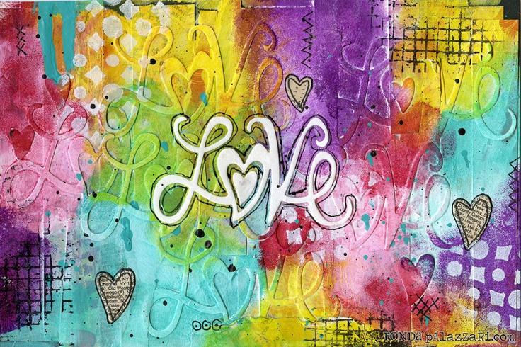 Sizzix: Love Art Journal Page  Rhonda Palazzari: Love Art, Art Journals Pages, Die Cutting, Art Journal Pages, Palazzari Round, Sizzix Die, Backgrounds Design, Mixed Media, Cut Inspiration