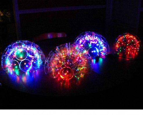 Plastic Cup Christmas Light Balls for the tree outside