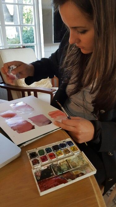 Our lovely intern, Lucelle, painting with watercolours for an art exhibitio'ns social stationery. #www.elsje.co.za