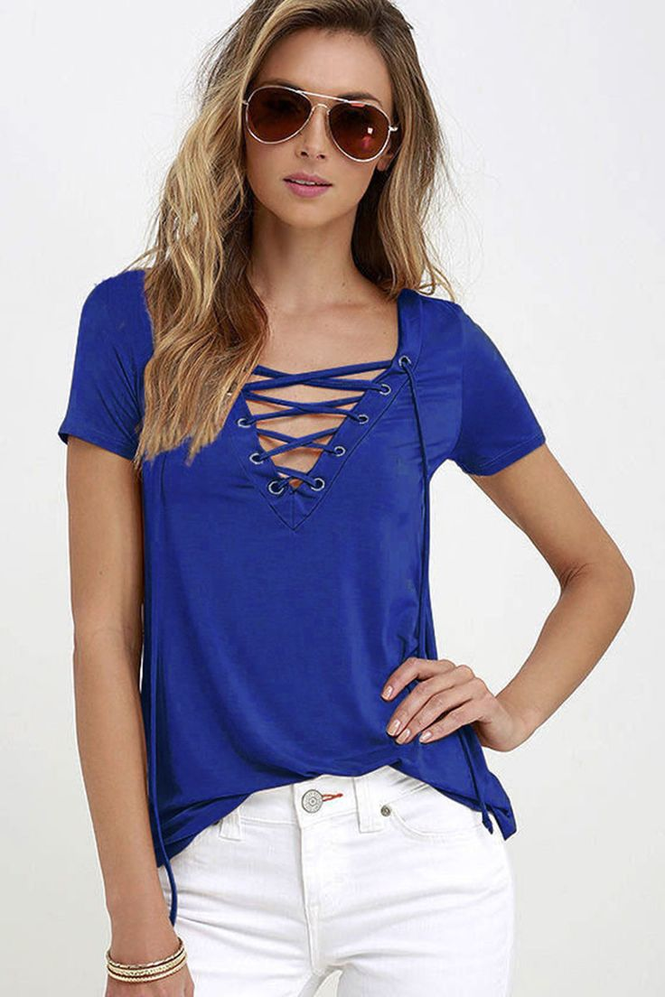 European Fashion Lace Up T Shirt Women Sexy V Neck Hollow Out Top Casual Basic Female