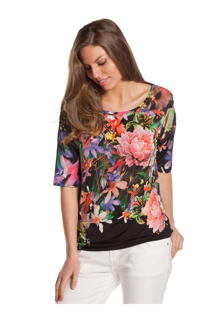 T-shirt de manga francesa y estampación floral. - MUJER | Rosalita McGee #flores #camisaflores #estampadofloral #flowers #modaprimavera #springstyle #tshirt #mangafrancesa #mangafrancesaconflores