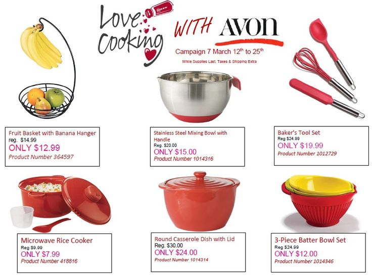 Do you love to Cook?  Do you love Kitchen items?  Love Cooking with Avon in Campaign 7!  www.avon.ca
